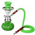 Mini Shisha Pipa de Agua viaje 24 cm verde con 1 manguera